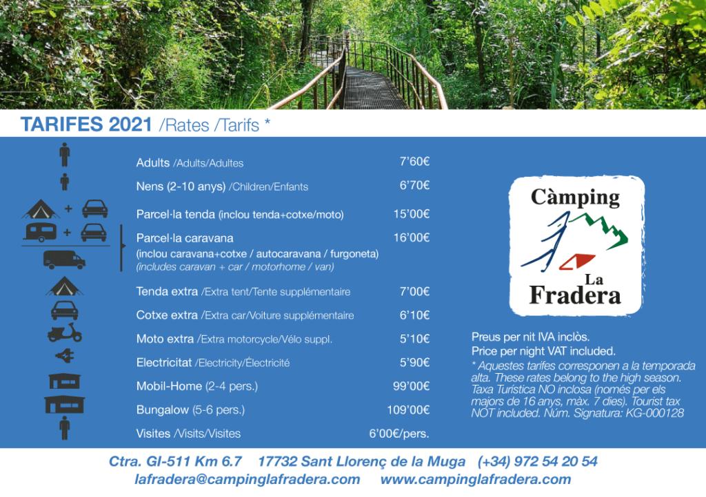 Tarifas 2021 Camping La Fradera
